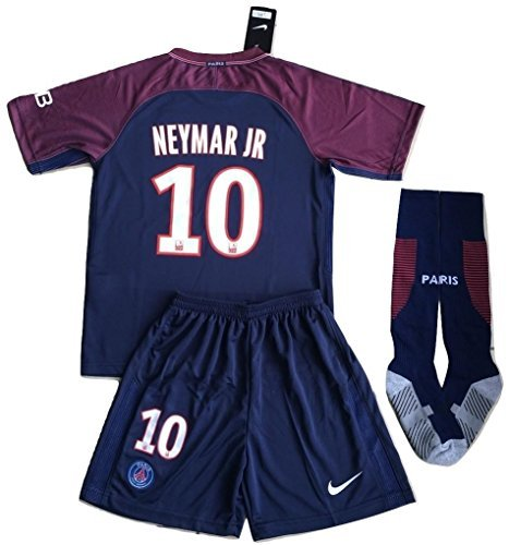 Shirt Home Kit - New #10 Neymar Jr 2017/2018 PSG Home Jersey Shorts & Socks For Kids/Youths (7-8 Years Old)