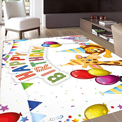 - Rug,FloorMatRug,Birthday,AreaRug,Cartoon Style Safari Jungle Animals at a Party with Flags and Balloons Image,Home mat,6'6