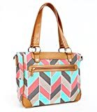 Kailo Chic Casual 17'' Laptop Tote - Coral and Mint Herringbone