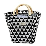 KFSO Lunch Bag Clearance Sale! Color Blocked Triangle Printed Tin Foil Thermal Insulated Lunch Box Tote Cooler Bag Bento Pouch Lunch Container (B)