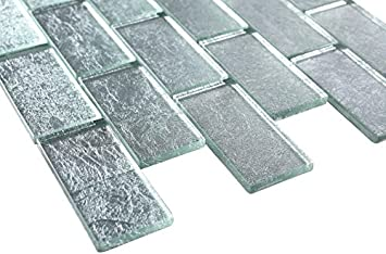 1x2 Glossy Glitter Ice Sky Subway Glass Mosaic Tiles for Bathroom and Kitchen Walls Kitchen Backsplashes by Vogue Tile