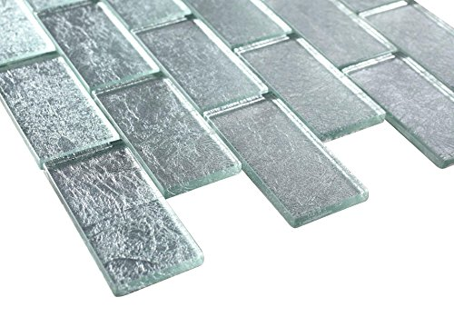 2x4 Glossy Glitter Ice Sky Subway Glass Mosaic Tiles for Bathroom and Kitchen Walls Kitchen Backsplashes