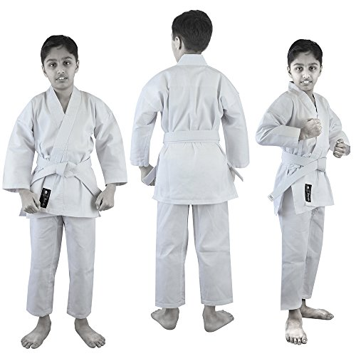 VERUS Adult & Kids Karate Suit TKD Judo Gi Martial Arts Uniform with Free White Belt (White, 1)