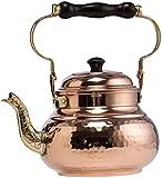 DEMMEX 2017 Hammered Copper Tea Pot Kettle Stovetop Teapot, 1.6-Quart (Copper)