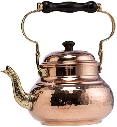DEMMEX 2017 Hammered Copper Tea Pot Kettle Stovetop Teapot, 1.6-Quart (Copper) ()