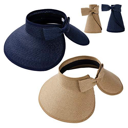 Summer Straw Beach Sun Visor Ponytail Hats for Women Foldable Floppy (Straw-Kd-2 Pack-Khiki/Navi Blue) ()
