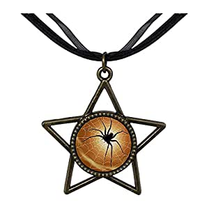 Chicforest Bronze Retro Style Halloween spider Five Pointed Star Pendant