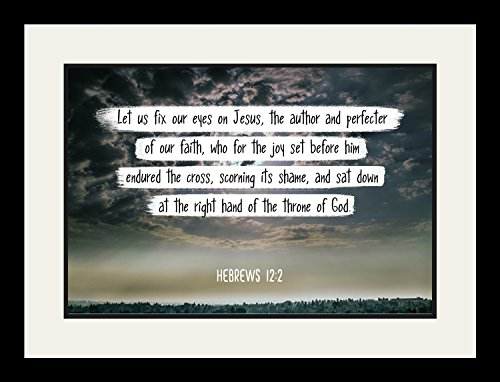 Bible Verse Wall Art ''Let us fix our eyes on Jesus.'' Hebrews 12:2 Christian Poster Framed Picture Wall Decor Print   Spiritual Inspirational Verses and Quotes (19x25 Framed) by WeSellPhotos