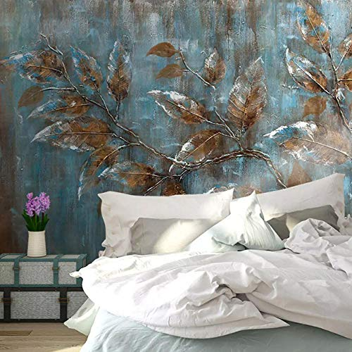 HNFSZBB European Style Retro Leaves Mural Wallpaper Modern Abstract Art Oil Painting Photo Wall Paper Living Room Tv Sofa Background 280cm(W) x 180cm(H) (9'2