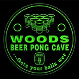 4x ccqr1107-g WOODS Beer Pong Cave Game Bar Beer 3D Engraved Drink Coasters