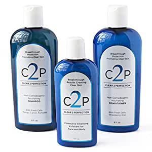 CLEAR 2 PERFECTION Non-Comedogenic Acne Treatment For Face Body and Hair, Acne Wash Complete Trio Set Paraben Free Shampoo Conditioner and Exfoliating Scrub for Natural Blemish Free Skin