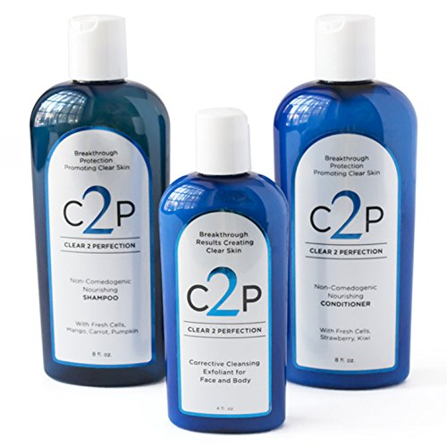 CLEAR 2 PERFECTION Non-Comedogenic Acne Treatment For Face Body and Hair, Acne Wash Complete Trio Set Paraben Free Shampoo Conditioner and Exfoliating Scrub for Natural Blemish Free Skin ()