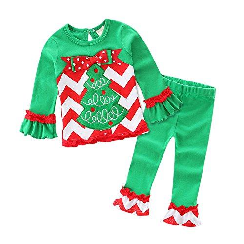 Little Baby Girls 2 Pieces Christmas Costumes Cotton Long Sleeve Shirt Snowman Santa T-Shirt Tee Top Ruffle Leggings Pants OutfitClothes Set