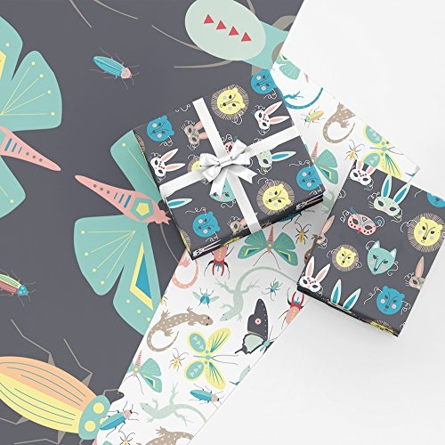 Kiddos Gift Wrap Collection, 9 FOLDED Sheets of Wrapping Paper with Lizards, Butterflies, Moths, Bugs, Beetles, Insects, and Animal Masks, Easy to Store FOLDED Gift Wrap, made in America by REVEL & Co