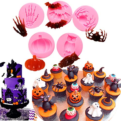 Set of 5 JeVenis Nightmare Before Christmas Cake Fondant Mold Nightmare Before Christmas Cupcake Mold Candy Soap Ice Molds for Party Supplies with Pumpkins Crossbones Ghosts -