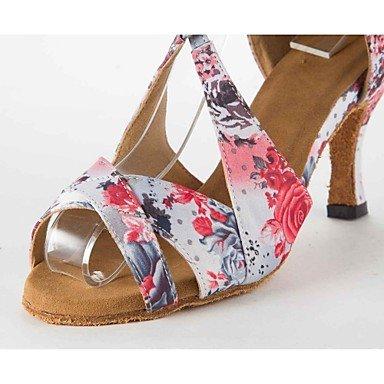 XIAMUO Latin Women's Sandals Satin Stiletto Heel Buckie Dance Schuhe, Rosa, US 9 / EU 40/UK7/CN41