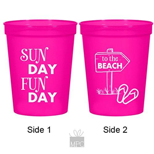 Fun Day Sun Day, Beach Vacation Plastic Stadium Cups (10 cups)