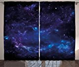 Ambesonne Sky Curtains, Space Illustration Night Time Universe Stars and Nebulas Distant Parts of Galaxy, Living Room Bedroom Window Drapes 2 Panel Set, 108 W X 84 L Inches, Purple Blue Black For Sale