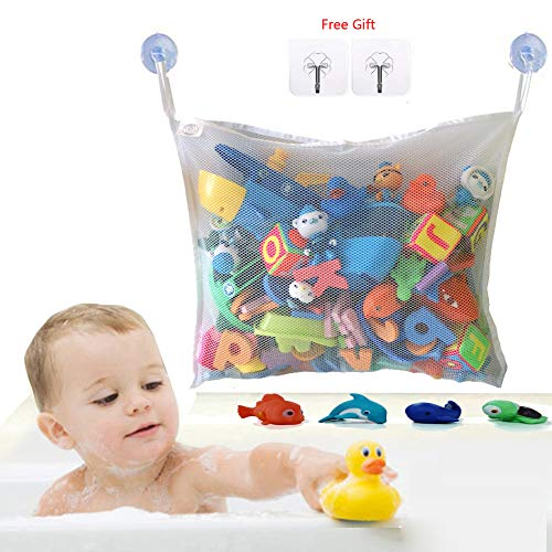 Bath Toy Storage Bath Toy Organizer Mesh Bath Toy Organizer Durable Design + 2 Extra Strong Suction Cups! Large Storage/Bag/Holder for Toys Even as a Shower Caddy and Baby Gift Mold Free Playtime
