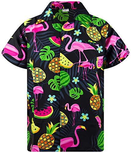 941bd69b King Kameha Funky Hawaiian Shirt Men Shortsleeve Frontpocket Hawaiian-Print  Melon Flamingo Fruits