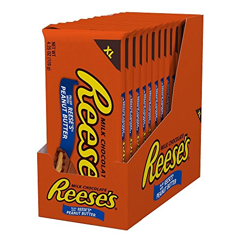 REESE'S Peanut Butter Chocolate Candy Bars, Extra Large for Holiday Gifts and Gift Bags (Pack of 12)