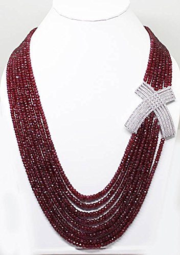 25% Discount Vintage 800 Carats Multi Strand Ruby Necklace/Faceted Rondelle Beads Gemstone/Ruby Gemstone Necklace 8 Strand Metal Bronze Size- 2mm