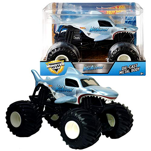 Hot Wheels Year 2017 Monster Jam 1:24 Scale Die Cast Metal Body Official Truck - Megalodon FMB56 with Monster Tires, Working Suspension and 4 Wheel ()