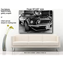 """Muscle car canvas print Ford Mustang Boss 429 Fastback (1969) Huge 40""""x30"""""""