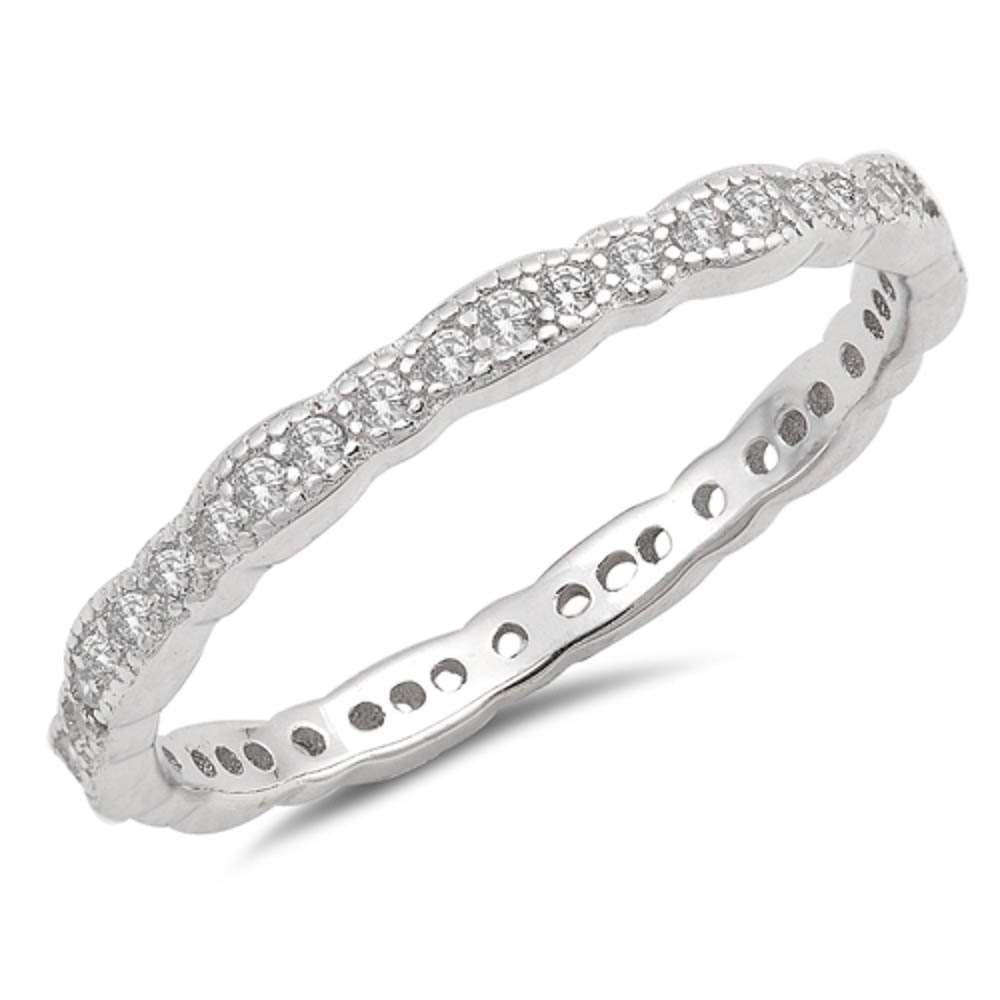 Sterling Silver Antique Style Stackable Wedding Band Ring Sizes 7