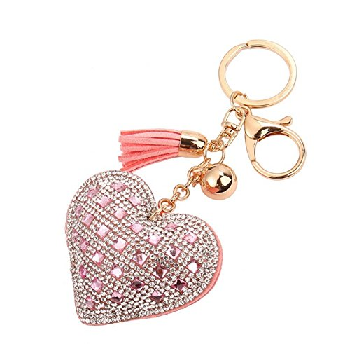 Pink Heart Key (Freedi Heart Diamond Tassels Keychain Leather Cute for Car Key Ring Handbag Pendant Decor)