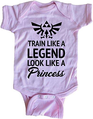 Brain Juice Tees Train Like A Legend Look Like A Princess Zelda Baby One Piece (0M-Newborn, Azalea) -