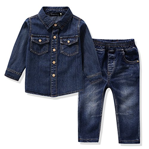 FERENYI US Kids Clothing Boys Casual Short Sleeved Plaid Shirt and Denim Jeans Sets Blue 2 6T(130)