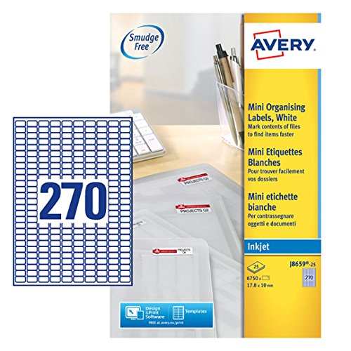 Avery J8659-25 Self-Adhesive Mini Filing Labels, 270 Labels Per A4 ()