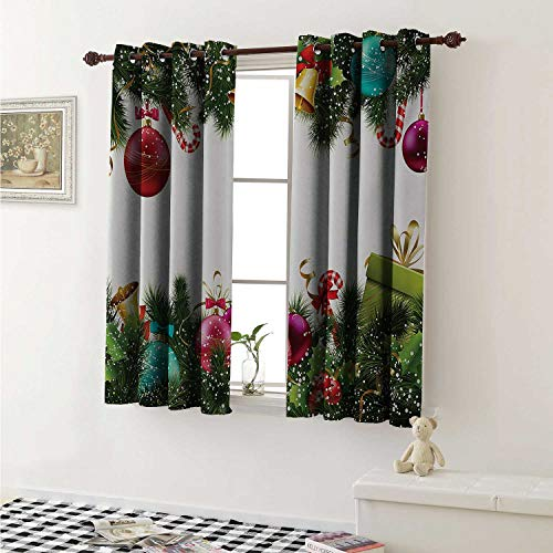 (shenglv Christmas Blackout Draperies for Bedroom Happy New Year Greeting Celebrations with Holly Garland Artful Design Curtains Kitchen Valance W72 x L63 Inch Green)