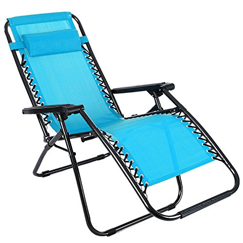 Price comparison product image Kaluo Portable Reclining Lounge Chaise Zero Gravity Garden Beach Camping Chair (Blue)