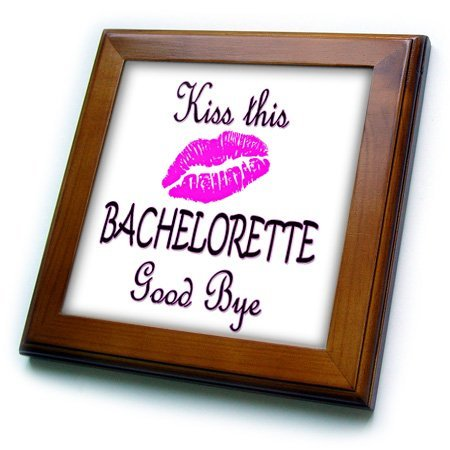 (3dRose ft_218129_1 Kiss This Bachelorette Good Bye. Funny Quotes. Popular Saying-Framed Tile, 8 by 8