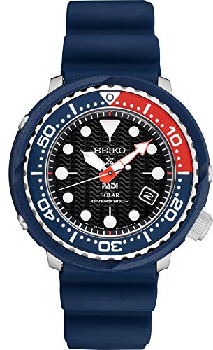 Seiko PADI Special Edition Prospex Solar Dive Watch with Black Silicone Strap 200 m SNE499