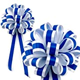 Royal Blue & White Striped Wedding Pull Bows with Tails for Church Pews and Chairs - 8'' Wide, Set of 6
