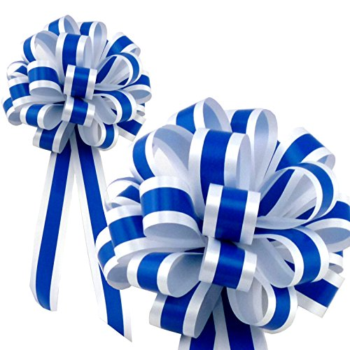 "Royal Blue & White Striped Wedding Pull Bows with Tails for Church Pews and Chairs - 8"" Wide, Set of 6"