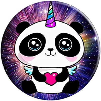 Cute Smiling Panda Love Funny Pandacorn Unicorn Rainbow Popsockets Grip And Stand For Phones And Tablets