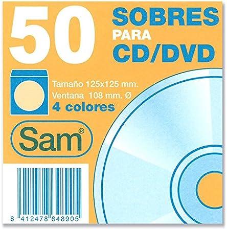 Sam 664890 - Pack de 50 sobres para CD y DVD, multicolor: Amazon.es: Oficina y papelería