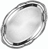 """American Metalcraft (STOV1510) 15"""" x 10"""" Oval Chrome Serving Tray - Affordable Elegance Series"""