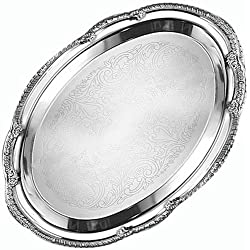 "American Metalcraft (STOV1510) 15"" x 10"" Oval Chrome Serving Tray - Affordable Elegance Series"