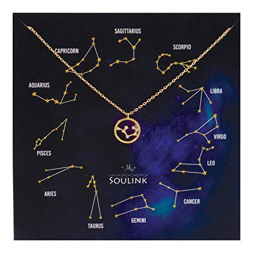 Soulink Universe Astrology Constellation Tropical Zodiac Sign in Circle Necklace (Sagittarius (23 Nov - 21 Dec)_Yellow Gold)