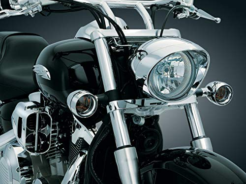Kuryakyn 2270 Motorcycle Lighting Accessory: Front Turn Signal/Blinker Lights Deep Dish Bezels for Honda, Kawasaki Motorcycles, Amber Bulbs with Smoke Lens, Chrome, 1 Pair ()