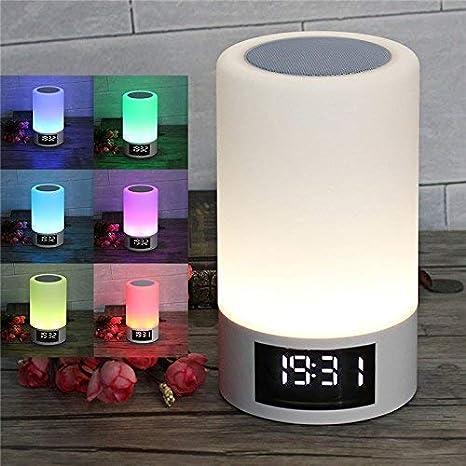 M6 lámpara de Noche con altavoz Bluetooth, Sensor táctil lámpara de mesa, intensidad regulable luz Blanca cálida y cambio de Color RGB, reloj ...