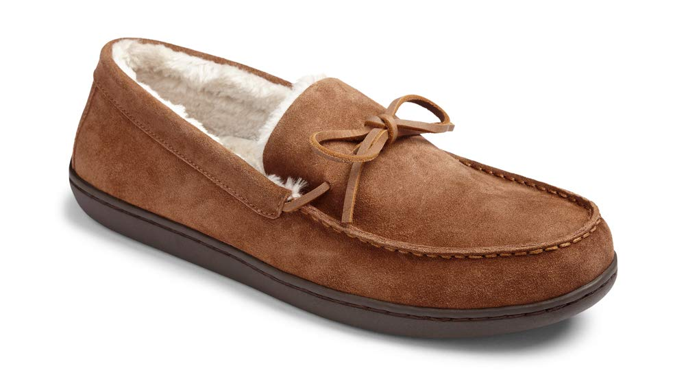 Vionic Men's Irving Adler Slipper with Durable Rubber Sole - Faux Shearling Moccasins with Concealed Orthotic Arch Support Chestnut 10.5 M US