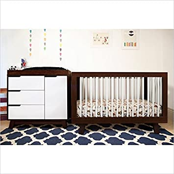 Amazon Com 3 In 1 Convertible Crib In Two Tone Espresso White