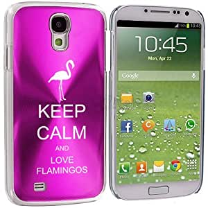 Hot Pink Samsung Galaxy S4 S IV i9500 Aluminum Plated Hard Back Case Cover KK429 Keep Calm and Love Flamingos