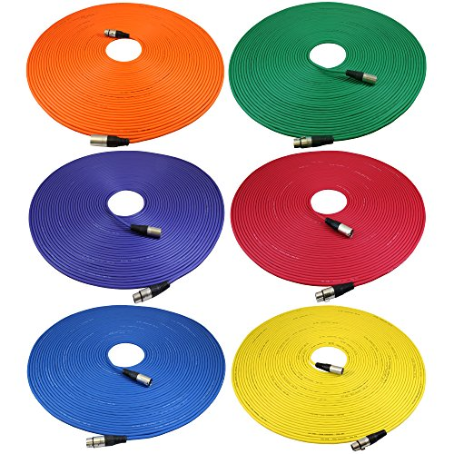 GLS Audio 100ft Mic Cable Cords - XLR Male to XLR Female Colored Cables - 100' Balanced Mike Cord - 6 PACK by GLS Audio